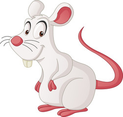 Cartoon cute mouse. Vector illustration of funny happy rat.