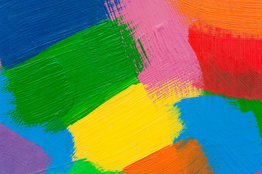 Multicolor abstract strokes with oil paint.