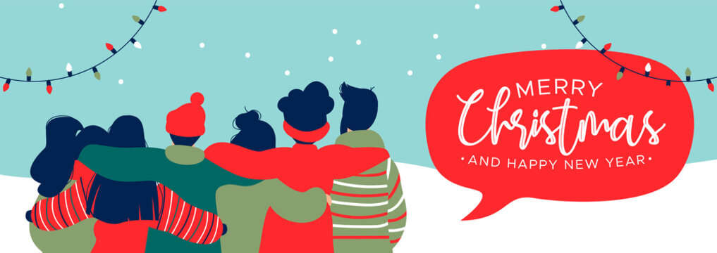 Christmas and New Year diverse people group banner