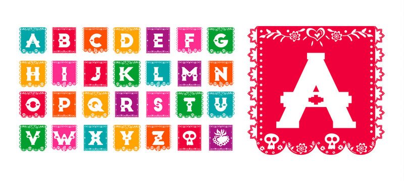 Mexican day of the dead paper flag alphabet font