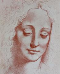 Head of woman, illustrated in a vintage book,  Leonard de Vinci, Eugene Muntz, 1899, Paris