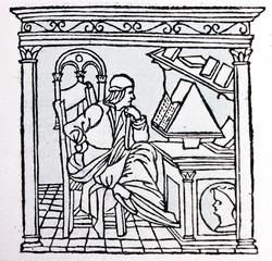 Portrait of the Poet Bellincioni engraved in a vintage book Leonard de Vinci, author Eugene Muntz, 1899, Paris