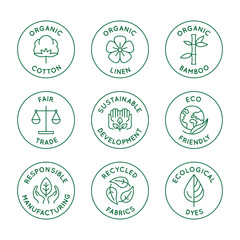 Vector set of linear icons and badges related to slow fashion and sustainable made textiles, fabrics, garment and clothes