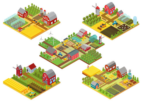 Vector 3d isometric rural farms set with tractor, combine harvester, house, fields windmill and warehouses.