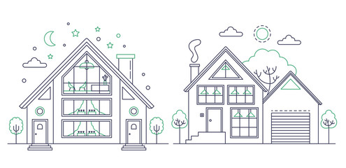 Vector set of line art vector Illustration of countryside town houses.