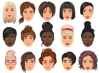Woman realistic detailed avatar set vector illustration. Beautiful young girls female portrait with different hair style isolated.