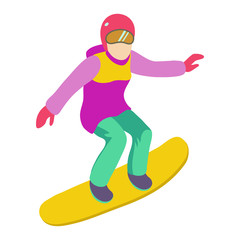 Young girl is riding a snowboard in stylish bright clothes.