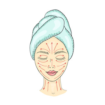 The girl s face with closed eyes and drawn massage lines, which is applied to the cream and facial massage is done.