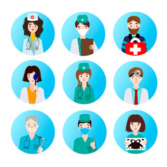 Set of medical icons depicting different professions of doctors.