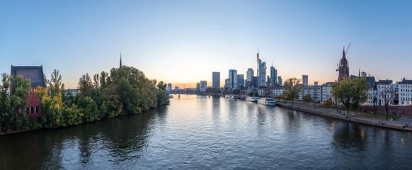 Frankfurt Main River Panorama dawn