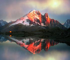 Aluminium Prints Reflection Crystal Lakes Chamonix in the Alps