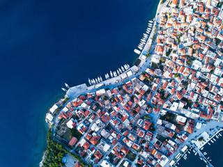 Aerial view of Ermioni sea marina in Aegean sea, Greece.