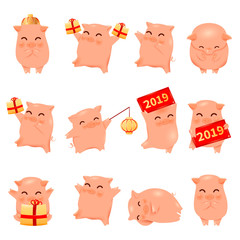 2019 Pig Year cartoon characters traditional oriental chinese zodiac sign pigs set.Chinese lanterns,Funny asian mascot character piglets with gift boxes,banners,vector illustration