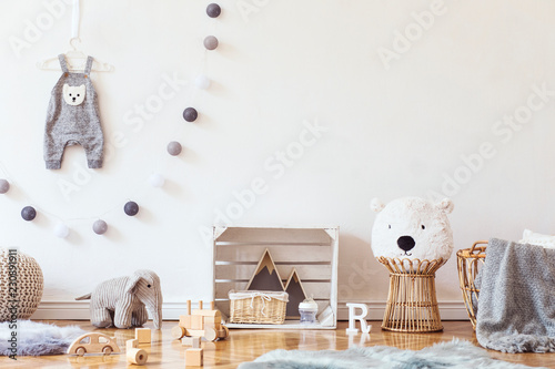 Stylish Scandinavian Child Room With Mock Up Photo Poster Frame On