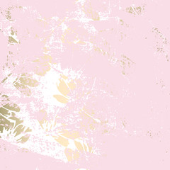 Trendy Floral gold foil patina blush background
