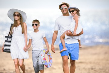 Young beautiful smiling Lovely family with kids