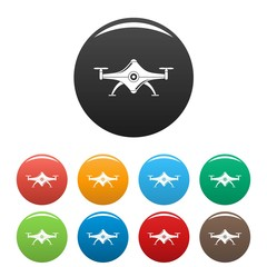 Futuristic drone icons set 9 color vector isolated on white for any design
