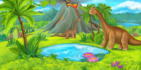 Photo sur Plexiglas Dinosaurs cartoon nature floral scene with hills and diplodocus - illustration for children