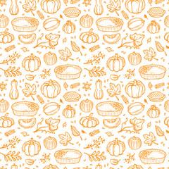 Thanksgiving Vector Background. Autumn Harvest Symbols Seamless Pattern. Hand Drawn Doodle Pumpkin Pie, Vegetables, Different Varieties of Pumpkins, Spices, Leaves.