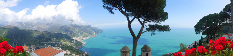 Ravello is high above the Amalfi Coast in Southern Italy with fantastic views over the coastline The Villa Rufolo owes its charm to the extraordinary beauty of the place and the views