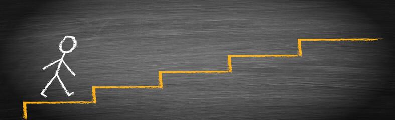 Strichmännchen mit Treppe, Erfolgsleiter, Neuanfang, Neubeginn, Fortschritt, Erfolg, Ziel
