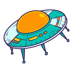 Ufo space ship icon. Hand drawn illustration of ufo space ship vector icon for web design