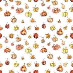 Seamless watercolor pattern background pumpkin halloween