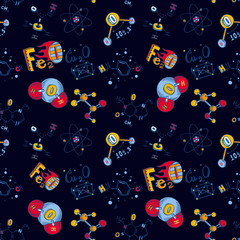Chemistry molecule seamless pattern. Hand drawn illustration of chemistry molecule vector seamless pattern for web design