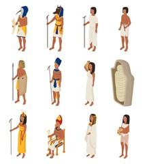 Egyptian vector ancient egypt people character pharaoh horus god man woman cleopatra in egyptology history civilization illustration set isolated on white background
