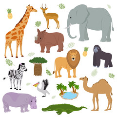 African animal vector wild animalistic character elephant giraffe gorilla mammal in wildlife Africa illustration set of hippo lion zebra camel in national safari park isolated on white background