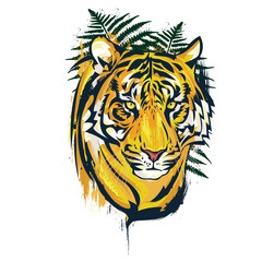Wild nature yellow tiger artwork illustration