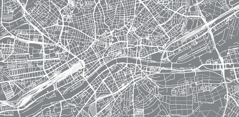 Urban vector city map of Frankfurt, Germany