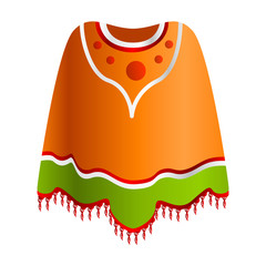 Mexican poncho icon. Cartoon of mexican poncho vector icon for web design isolated on white background