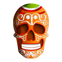 Mexican colorful skull icon. Cartoon of mexican colorful skull vector icon for web design isolated on white background