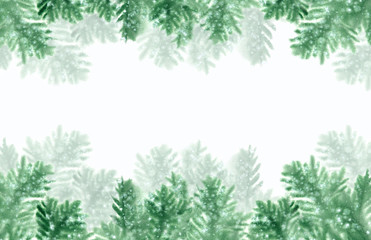 Christmas frame with fir branches and snow. Watercolor illustration on white background.