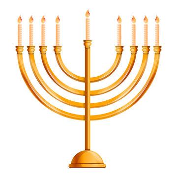 Jewish menorah icon. Cartoon of jewish menorah vector icon for web design isolated on white background