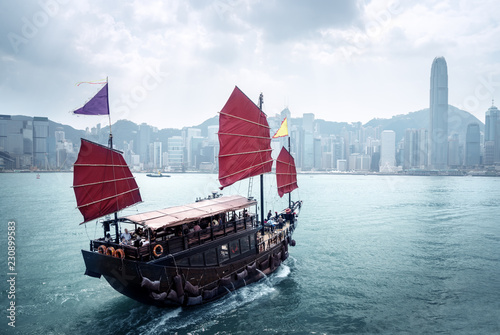 Fototapete Hong Kong harbour, China