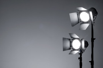 Fototapeta Equipment for photo studio and fashion photography. Light gray background. Ready to shoot concept. obraz