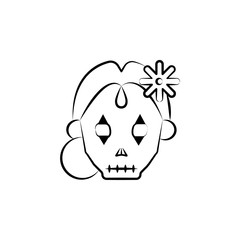 Catrina icon. Element of dia de muertos icon for mobile concept and web apps. Hand drawn Catrina icon can be used for web and mobile