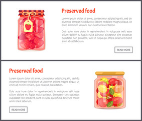 Preserved Fruit and Vegetables Set Vector Icons