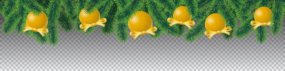 Seamless vector winter coniferous tree branches with needle leaves and hanging golden christmas bulbs on transparent background.