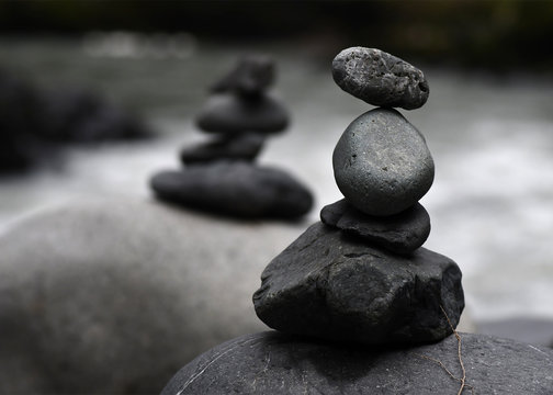 Cairns at the river