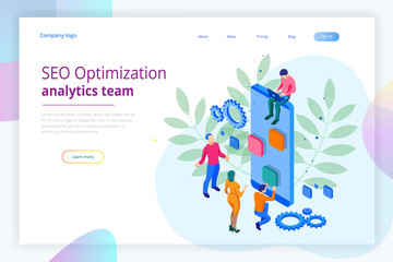 Isometric Seo Optimization and Analytics Team Modern Landing page design concept.