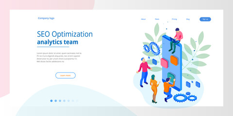 Isometric Seo Optimization and Analytics Team Modern Landing page design concept.