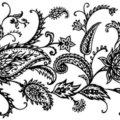 Seamless border of paisley pattern in the style of boho. Traditional decorative ornament, buta, mehendi, black and white vector illustration.