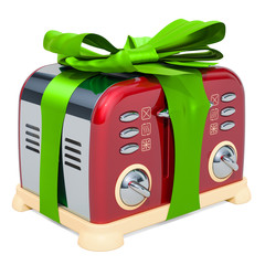 Toaster, retro design with green ribbon and bow. 3D rendering