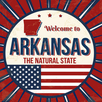Welcome to Arkansas vintage grunge poster