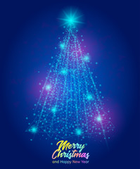 Christmas Greeting Card. Vector illustration showing abstract christmas tree on the blue background.
