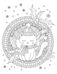 Christmas coloring page. Adult coloring book. Cute cat with scarf and knitted cap. Hand drawn vector illustration.