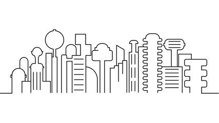 City landscape template. Thin line City landscape. Cityscape, futuristic city  Isolated outline illustration. Urban life Vector illustration